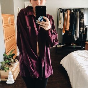 Violet Button Down Oversized Flannel Baggy